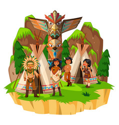 Native american indians at their tents vector