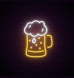 neon beer mug with foam night bright neon sign vector image