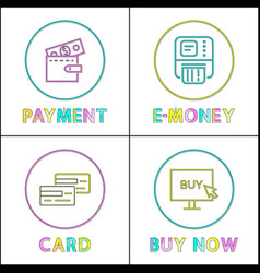 online commerce and shopping round linear icons vector image