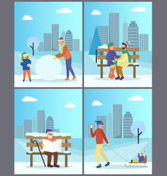 people walking in winter time in city park vector image