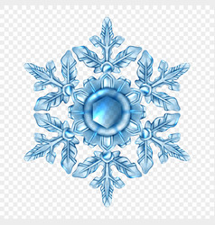 realistic snowflake transparent composition vector image