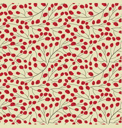 red berry pattern autumn seamless background vector image