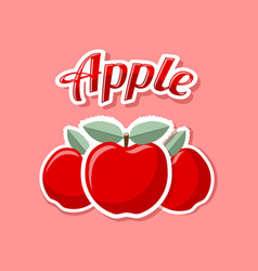 Retro apples on pink background vector