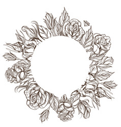 round floral frame with roses black and white vector image