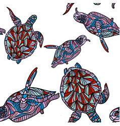 seamless pattern with turtles vector image