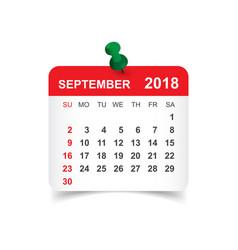September 2018 calendar calendar sticker design vector