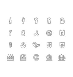set beer and bar pub line icons vector image