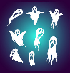 set cartoon ghost with spooky face vector image