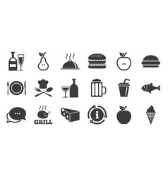 Set food and drinks icons restaurant signs vector