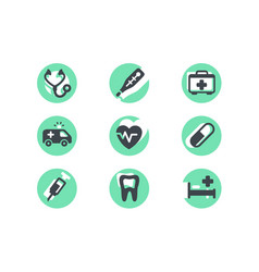 set icons with medical selection supplies pills vector image