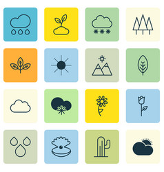 Set of 16 landscape icons includes seashell vector