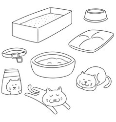 Set of cat accessories vector