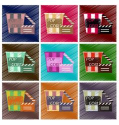 set of flat icons in shading style popcorn cinema vector image
