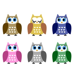 Set of six little owlets vector