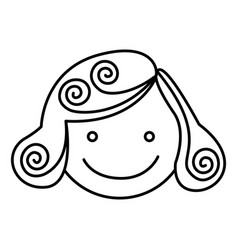 Silhouette girl face caricature icon vector