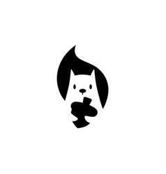 squirrel logo icon is holding nuts in negative vector image