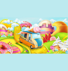 Sweet candy land ice cream truck 3d background vector