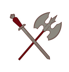 sword and ax isolated knight weapon king army vector image