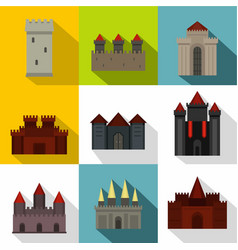 Towers and castles icon set flat style vector