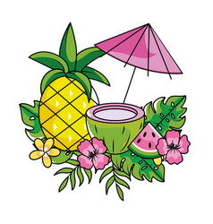tropical summer cartoon vector image