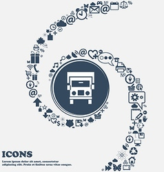 Truck icon in the center Around the many beautiful vector image