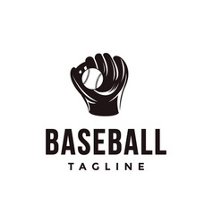 vintage baseball logo with catchers mitt and ball vector image