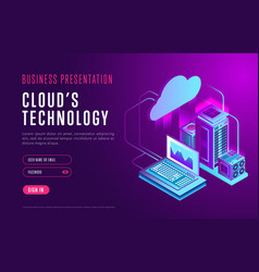 webpage design about cloud database technology vector image