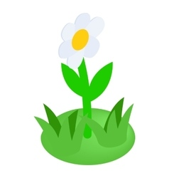 White flower icon isometric 3d style vector image