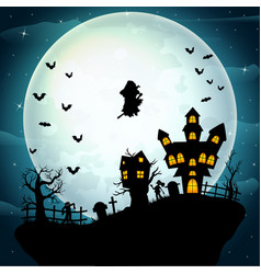 Witch flying on a halloween celebration vector