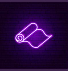 Yoga carpet neon sign vector