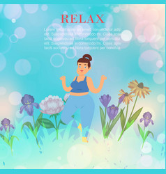 yoga relax fat girl exercising yoga on nature vector image