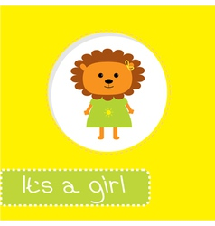 Baby shower card with lion Its a girl vector image