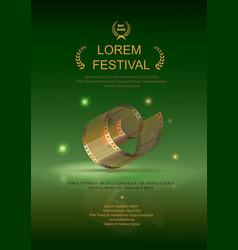 Camera film 35 mm roll gold festival movie poster vector image