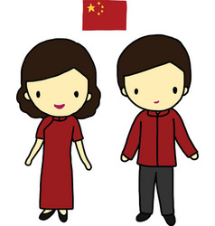 Chinese traditional dress vector image