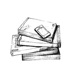 Hand drawn stack of books with smart phone vector