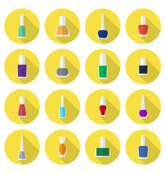 multicolored nail polishes flat icon set vector image vector image