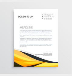 yellow and black abstract wave letterhead template vector image