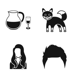 Alcohol fox and other web icon in black style vector