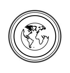 figure emblem earth planet icon vector image