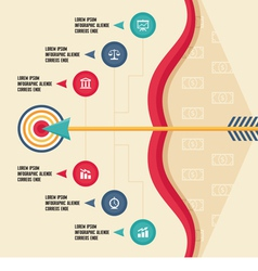 Infographic Concept with Bow Arrow and Target vector image vector image