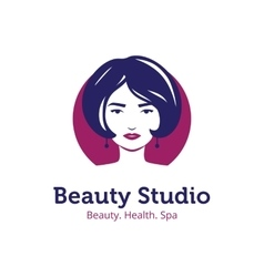 minimalistic beauty studio logo in blue and vector image