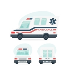 Set of cartoon ambulance car Isolated objects on vector image