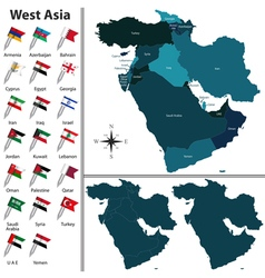 West asia with flags vector