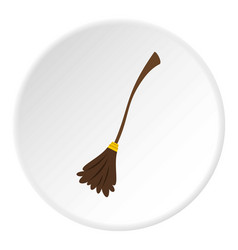Witch broom icon circle vector