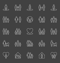 family outline icons vector image vector image