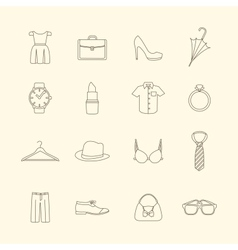 Fashion and clothes accessories icons vector image vector image