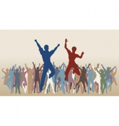 jumping celebration vector image vector image