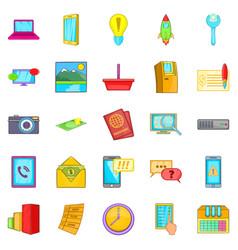 Operator icons set cartoon style vector