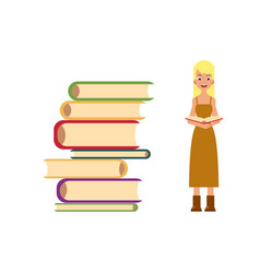 pile of books and young woman girl adult reading vector image vector image