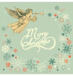 Retro christmas greeting card angel and snowflakes vector